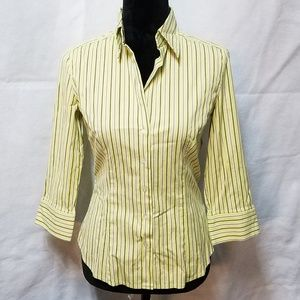 Striped Mint Green Collared Career Wear Bloouse